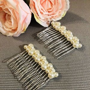 Pair of Cream white pearl hair comb, double row